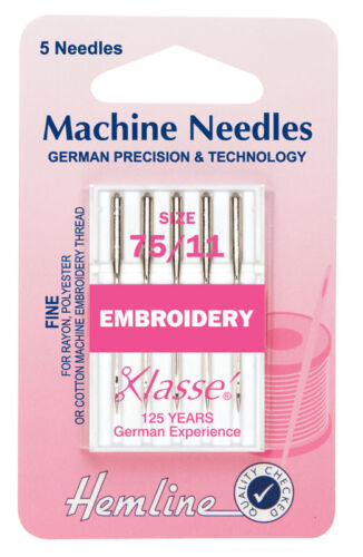 Size 75//11 Sewing Machine Needle Pack 5 Klasse EMBROIDERY Needle