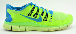 ede0c8f4e69f8 MENS NIKE FREE 5.0 RUNNING SHOES SIZE 11 FLASH LIME GREEN BLUE ...