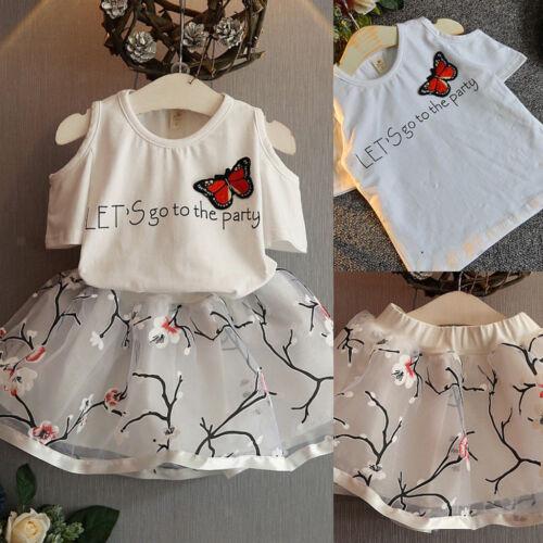 Summer Kids Baby Girls Outfits Clothes T-shirt Tops Floral Tutu Dress Skirt