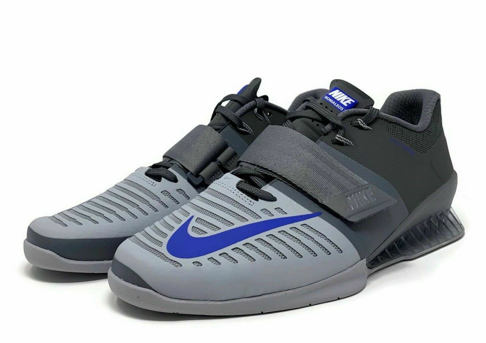 NEW Nike Sz 15 Romaleos 3 Weightlifting Training shoes Grey bluee 852933-001