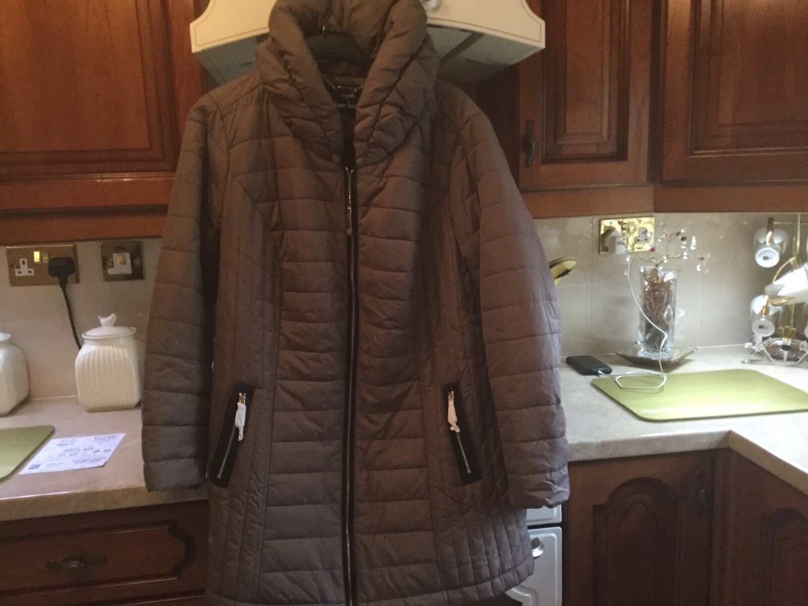 Dennis Basso Taupe Quilted Coat B New