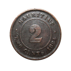 Km-8-2-centavos-Reina-Victoria-Mauricio-1884-F