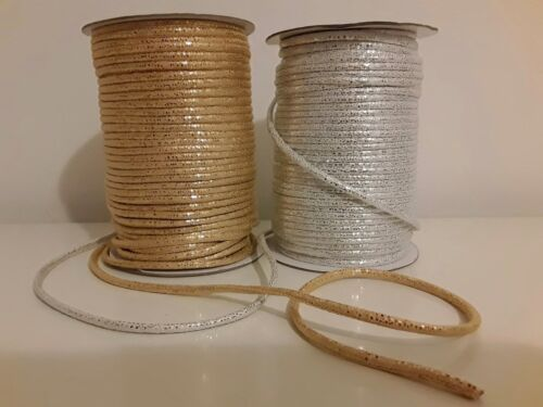 1M PU Leather Cord Silver Gold  5mm String rope bracelet making craft