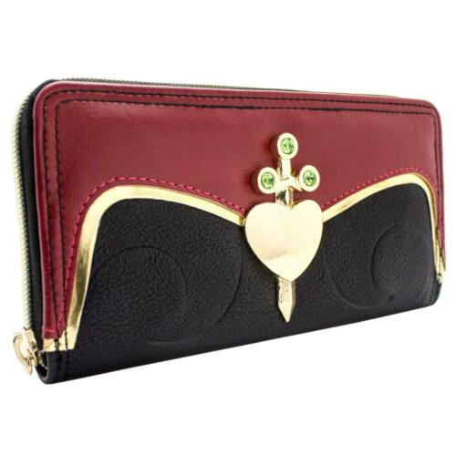 NEW OFFICIAL ALICE IN WONDERLAND EVIL QUEEN OF HEARTS BLACK ID CARD CLUTCH PURSE
