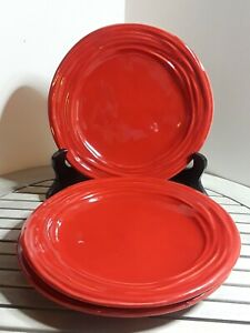 NEW-Set-of-3-Marco-E-Cristina-Red-Salad-Plates-8-5-034-Embossed-HandPainted-Italy