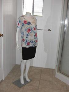 KAREN-SCOTT-Woman-Red-Blue-Floral-Short-Sleeves-Stretch-Knit-Top-Sz-1X