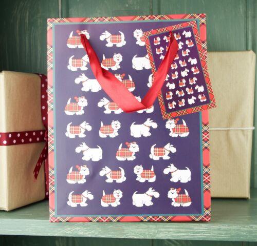 Large Westie Tartan Terrier Paper Gift Bag