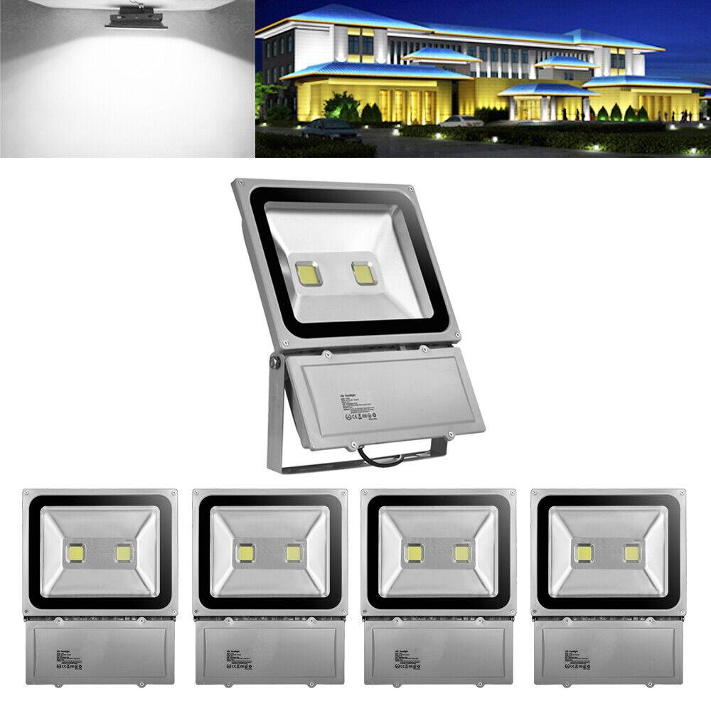 5X100W LED Fluter Flutlicht Außen Strahler Scheinwerfer Kaltweiß IP65 AC85-220V