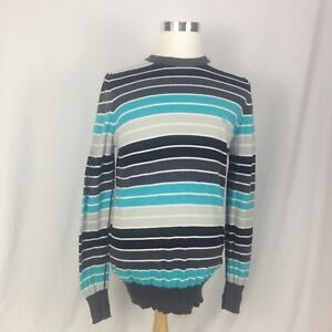 Mens Element Medium Bluegraywhite Striped Sweater Long Sleeve 100