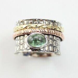 Tourmaline-Solid-925-Sterling-Silver-Spinner-Ring-Meditation-Ring-Size-V1000