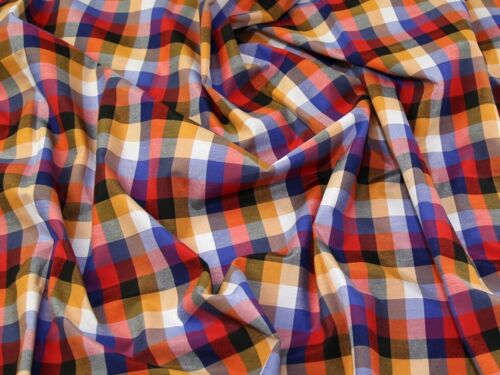 Brushed Cotton Check Fabric CRC-4-Red-M