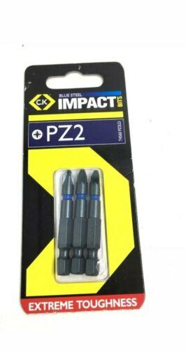 Pozi 2 Pack de 3 C.K T4560 PZ2LD 50 mm Long PZ2 Acier impact Tournevis Bits