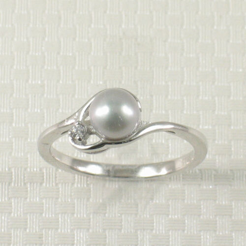 Mignon Solide Argent Sterling 925 Zircone cubique Silvertone Cultured Pearl Ring TPJ