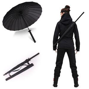 8 16 24 ribs novelty japanese black samurai man sword umbrella