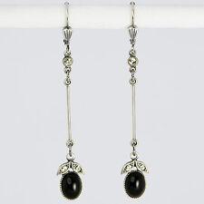 Ohrringe Ohrhänger lang Silber Altsilber Glasstein Vintage retro antik – schwarz
