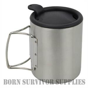 THERMAL-MUG-WITH-LID-320ml-Stainless-Steel-Metal-Cup-Travel-Camping-Fishing