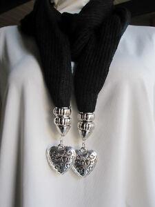 Black-Fashion-Jewelry-Pendant-2-Hearts-Scarf-Cotton-Knit-NEW-013