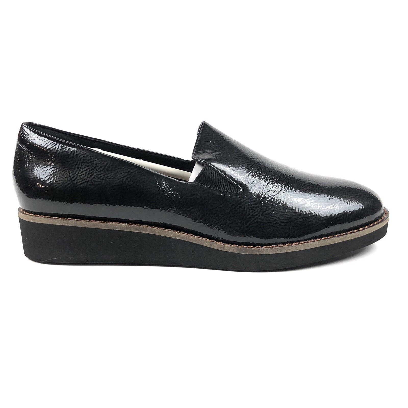 Softwalk Whistle Black Patent Leather Womens 9 Wide Low Loafers Shoes S1810-005