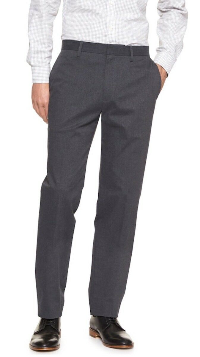 Banana Republic 33x34 Non-Iron Standard-Fit Stretch Heather Grey Dress Pant