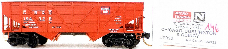 Micro Trains Line 57020 CB & Q 194328 33' Twin Bay Hopper 1 160 OVP  i146 å