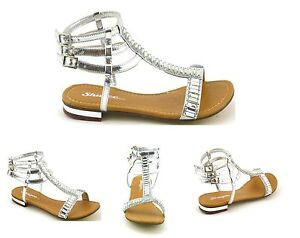 Para-Mujer-Damas-Nuevo-talon-plano-Diamante-Cristal-Gladiador-Verano-Sandalias-Zapatos-Talla