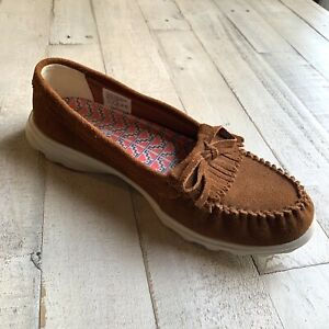 Skechers-In-The-Go-Moccasins-FRINGE-Brown-Vegan-Suede-Womens-Loafer-Flat-Shoes-8