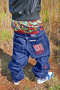 50-Cent-W36-Glanz-Shiny-Baggy-Jeans-Blue-Baggies-Gloss-Silver-Hip-Hop-Pants