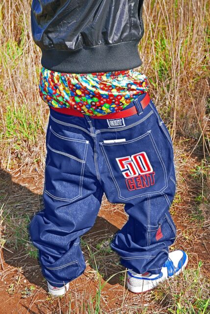 ☆—50 Cent—W36—Glanz—Shiny—Baggy Jeans—Blue—Baggies—Gloss—Silver—Hip Hop—Pants—☆