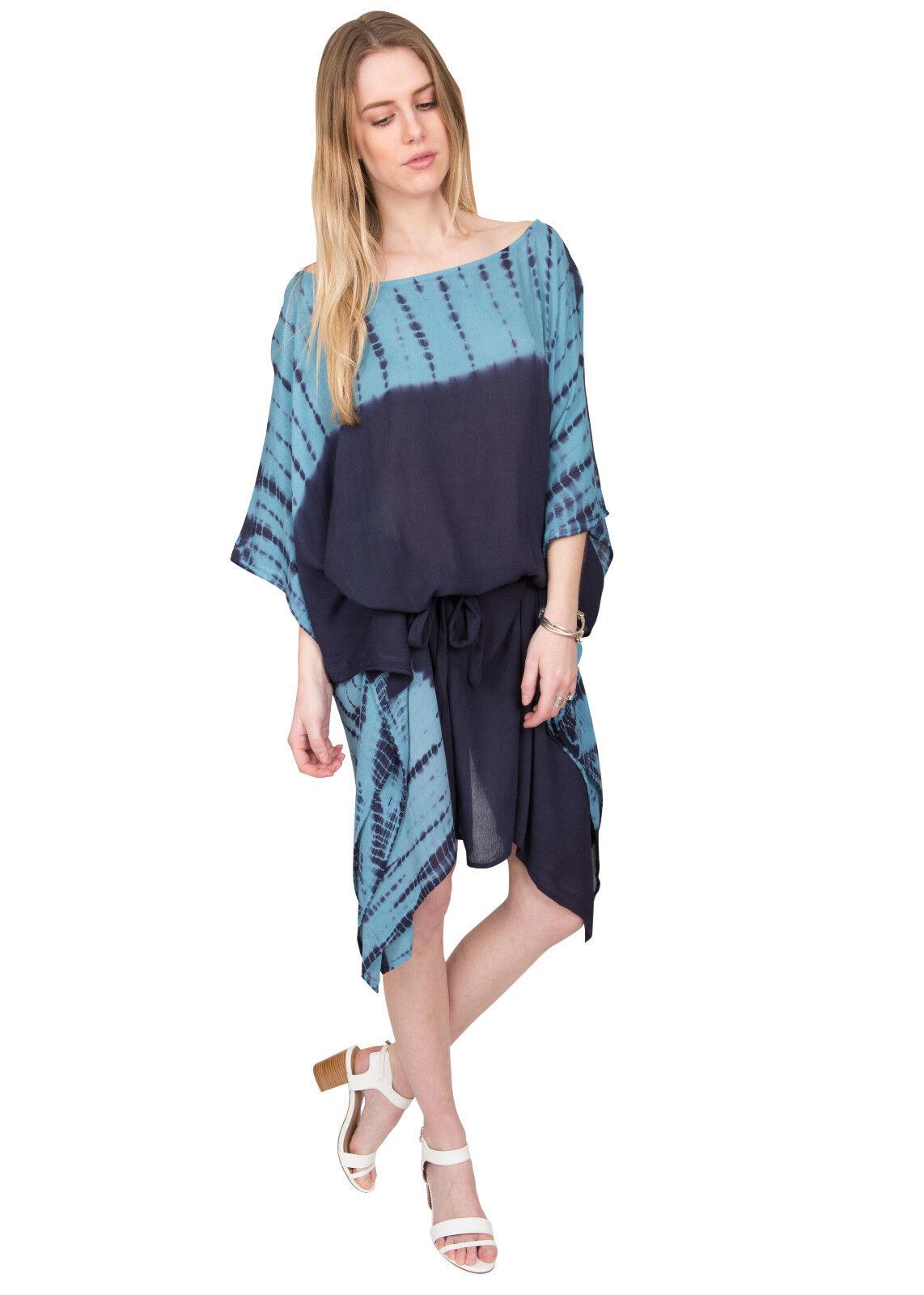 U-Stiefel-Ausschnitt Batik Kaftan blau blau blau | Online-Exportgeschäft  | Spezielle Funktion  | Exzellente Verarbeitung  | Moderne Muster  | New Style  7204ae