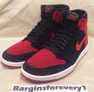 1d7ecb0b330 Air Jordan 1 Retro Hi Flyknit - Size 9 - Black Varsity Red-White ...