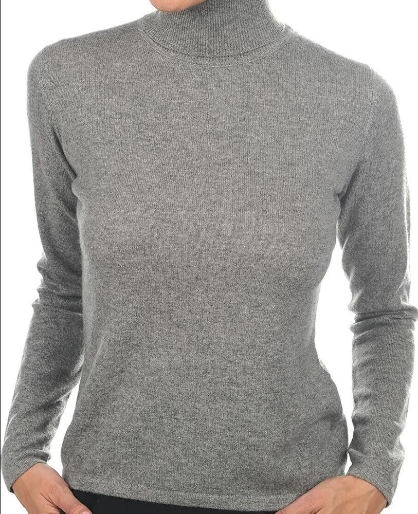 Balldiri 100% Cashmere Donna Pullover Pullover Pullover Collo Alto senza rifiniture Grigio M 9cd612