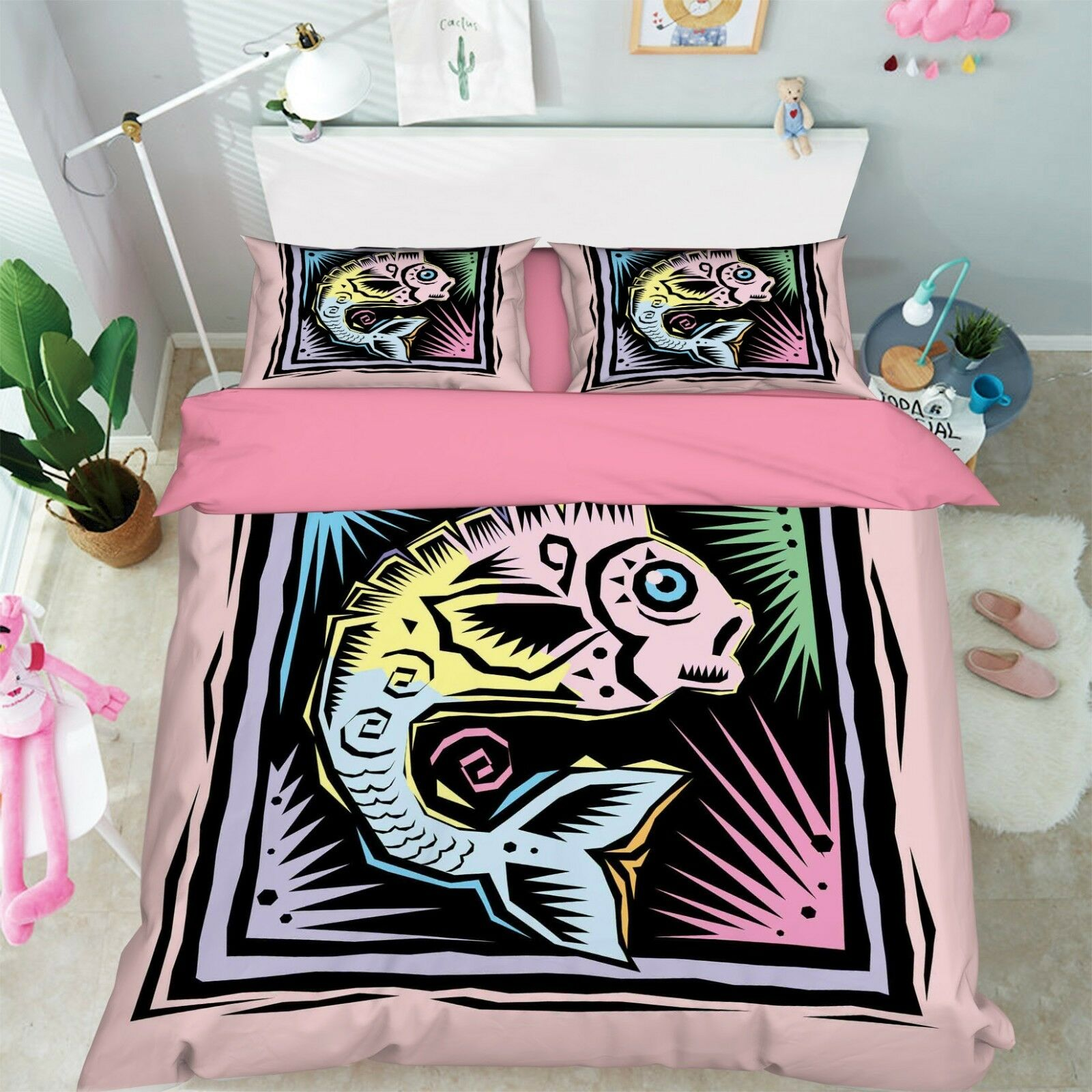 3D Fish Picture Bed Pillowcases Quilt Duvet Cover Set Single Queen King Größe AU