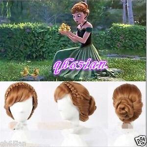 Disney Princess Frozen Anna Updo Style Weave Braid Bun Brown Cosplay ... 05c1ec2ce66f