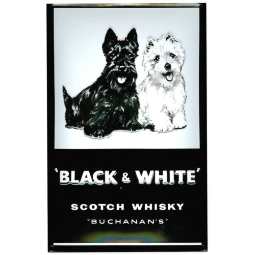 BLACK & WHITE SCOTCH WHISKY EMBOSSED(3D) METAL ADVERTISING SIGN 30X20cm PUB/BAR