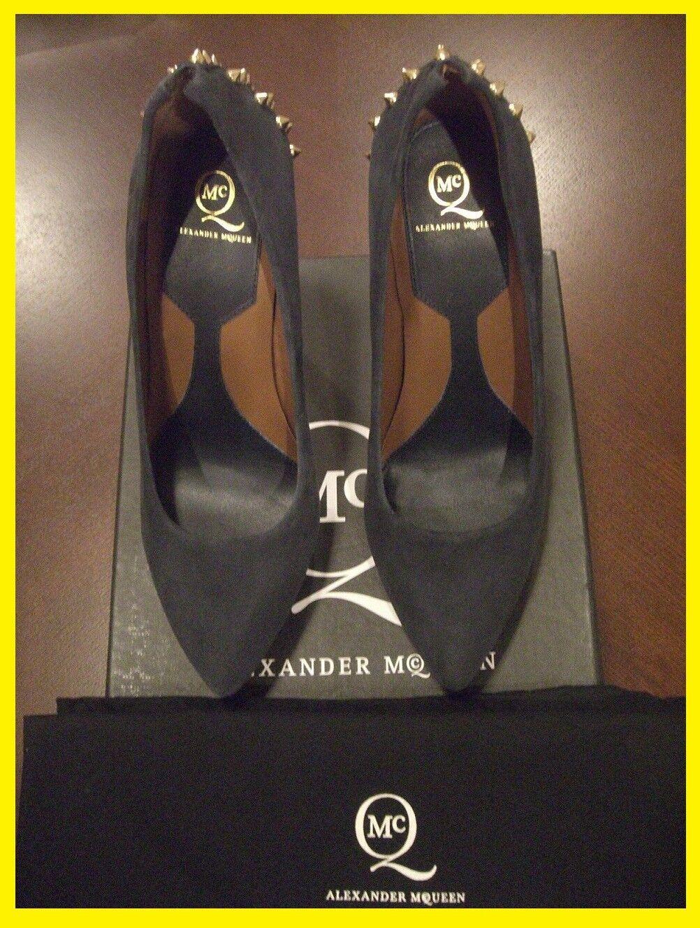 NIB McQ Alexander McQueen Studded Pointed Suede Platform Pump Heels Size 38 NEW