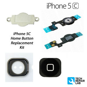 New Iphone 5c Premium Complete Home Button Replacement Repair Kit Black Ebay