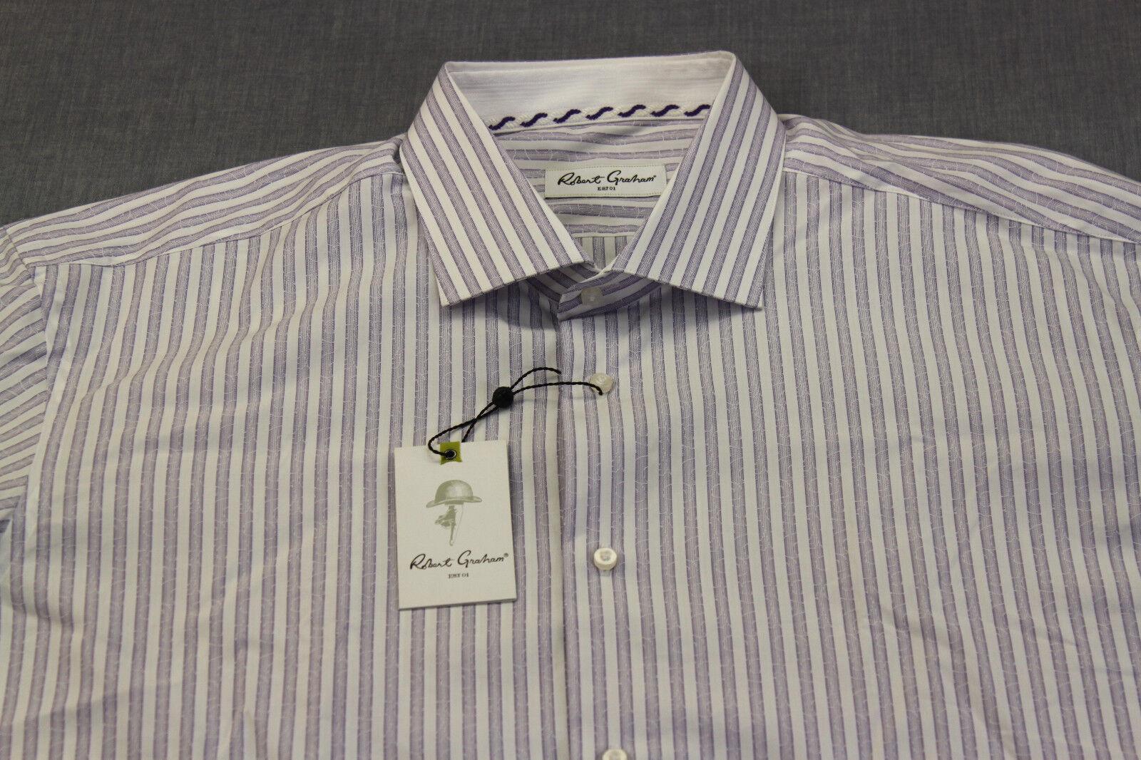 ROBERT GRAHAM HALE RC herren lila & Weiß STRIPE WOVEN hemd NWT 18  EUR 46  2XL
