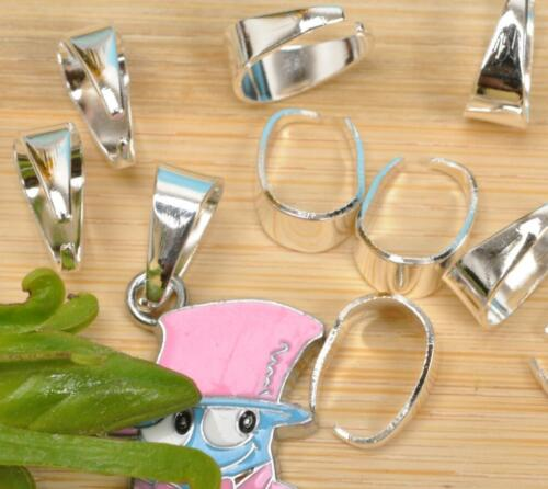 50PCS Pendant Pinch Clip Clasp Bail Connector finding silver gold plated bron