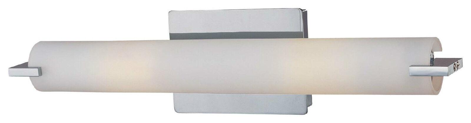 Elegant LED Bathroom Fixture Light Chrome Etched Glass Horizontal Grünical NEW