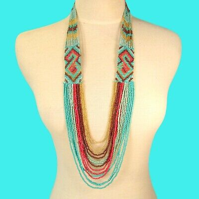 """24/"""" Natural Color Multi Strand Wood Buckle Waterfall Handmade Seed Bead Necklace"""