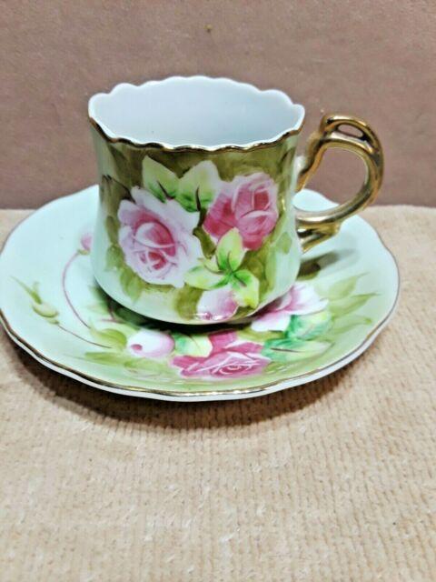 VINTAGE LEFTON JAPAN HAND PAINTED DEMITASSE TEA CUP and SAUCER SET ROSES