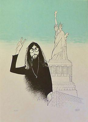 "AL HIRSCHFELD Beatles ""John Lennon in New York Peace and Liberty"" HAND SIGNED"