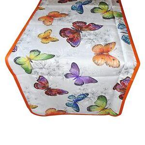 Tovaglia-RUNNER-striscia-tappeto-per-tavolo-cotone-farfalle-arancio