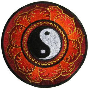 Aufnaeher-PATCH-22-cm-Yin-amp-Yang-Mandala-Lotus-Indien-Nepal-Goa-Meditation-psy