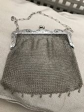 ANTIQUE  ART DECO STERLING SILVER MESH CHAINMAIL EVENING BAG PURSE AND CHAIN 91g