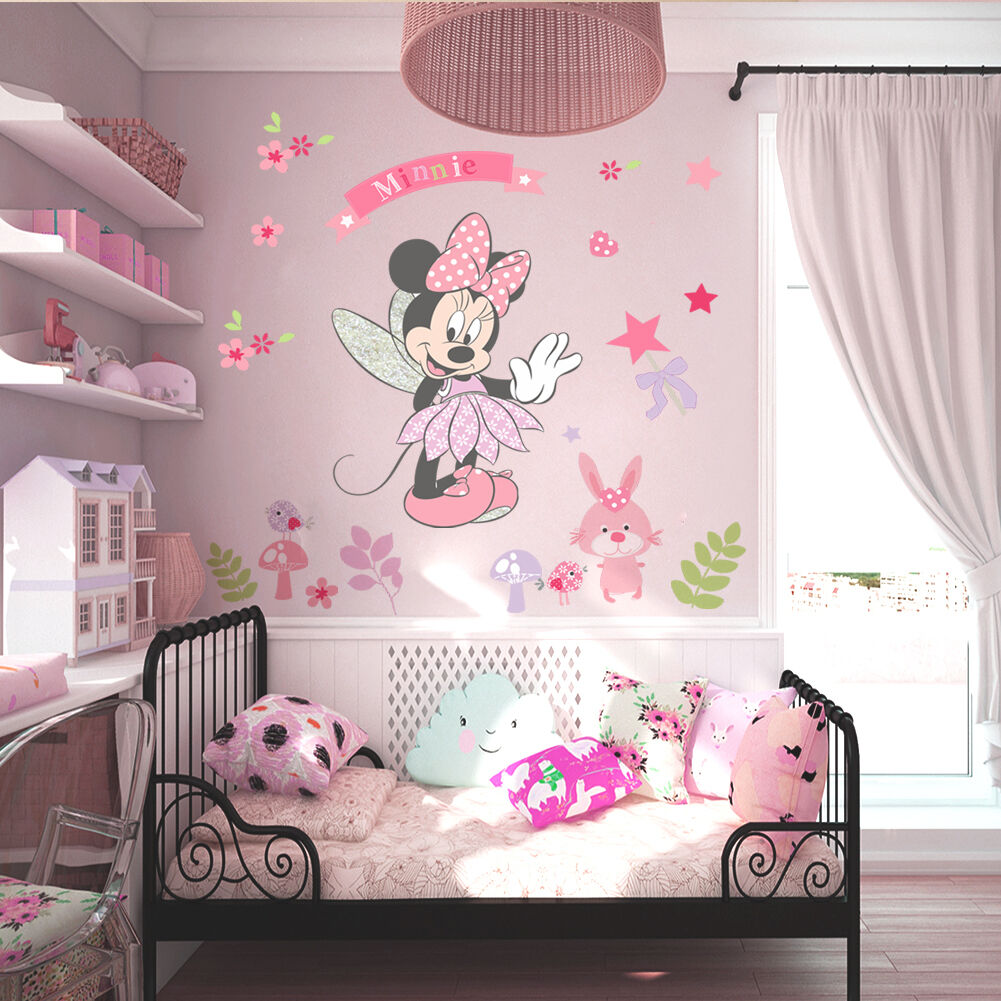 Details about Pink Minnie Mouse Wall Stickers Cartoon Mural Vinyl Decals  Girls Bedroom Decor