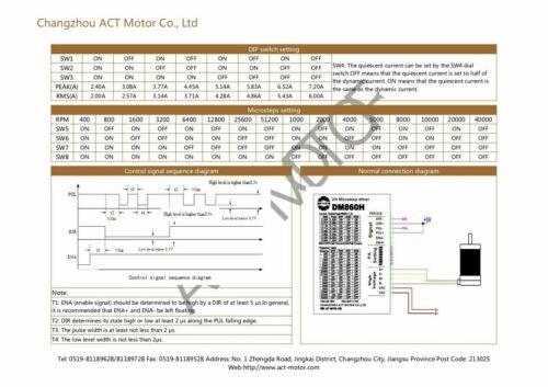 DE Free 1Axis Nema34 34HS1450D14L34J5-2 1140oz 5A 114mm Φ14mm DM860H AC/&DC CNC