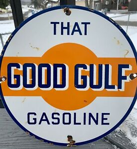 VINTAGE GOOD GULF GASOLINE PORCELAIN GAS OIL  SERVICE STATION PUMP PLATE SIGN AD