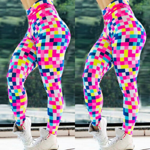 Womens Leggings Yoga High Waist Sporty Gym Fitness Trainers Compression Pants UK