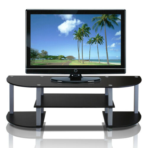 Black TV Stand Media Storage Entertainment Center Flat Screen Eco Friendly